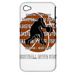 Basketball never stops Apple iPhone 4/4S Hardshell Case (PC+Silicone)