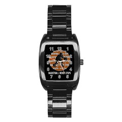 Basketball never stops Stainless Steel Barrel Watch