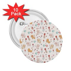 Kittens and birds and floral  patterns 2.25  Buttons (10 pack)