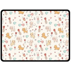 Kittens and birds and floral  patterns Double Sided Fleece Blanket (Large)