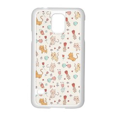 Kittens and birds and floral  patterns Samsung Galaxy S5 Case (White)
