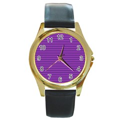 Decorative lines pattern Round Gold Metal Watch