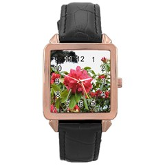 Virginia Waters Flowers Rose Gold Leather Watch