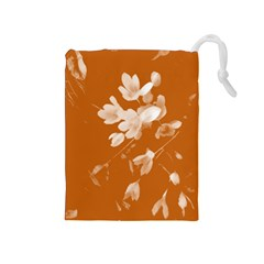 Autumn Crocus Orange Drawstring Pouches (medium)