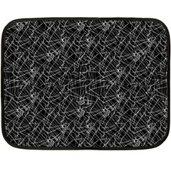 Linear Abstract Black And White Fleece Blanket (Mini)