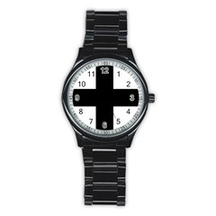 Greek Cross Stainless Steel Round Watch