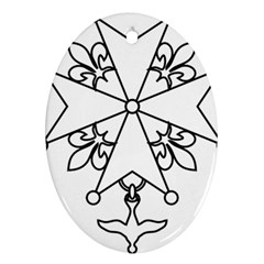 Huguenot cross Oval Ornament (Two Sides)