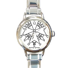 Huguenot Cross Round Italian Charm Watch