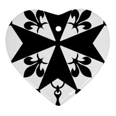 Huguenot Cross Ornament (Heart)