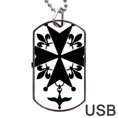 Huguenot Cross Dog Tag USB Flash (One Side)