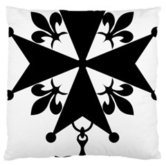Huguenot Cross Large Flano Cushion Case (Two Sides)