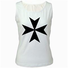 Maltese Cross Women s White Tank Top