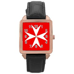 Cross of the Order of St. John  Rose Gold Leather Watch