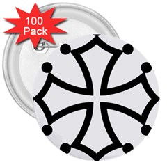 Occitan Cross 3  Buttons (100 pack)