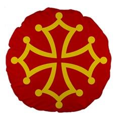 Flag Of Occitaniah Large 18  Premium Flano Round Cushions