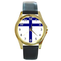 Papal Cross  Round Gold Metal Watch