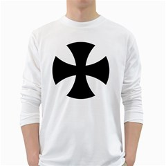 Cross Patty White Long Sleeve T-Shirts
