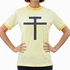 Patriarchal Cross Women s Fitted Ringer T Shirts