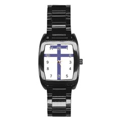 Patriarchal Cross Stainless Steel Barrel Watch