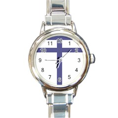 Patriarchal Cross Round Italian Charm Watch