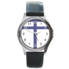 Patriarchal Cross  Round Metal Watch