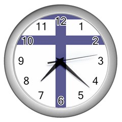 Patriarchal Cross  Wall Clocks (silver)