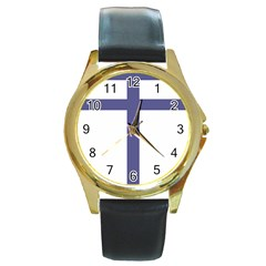 Patriarchal Cross  Round Gold Metal Watch