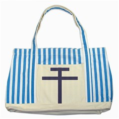 Patriarchal Cross  Striped Blue Tote Bag