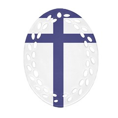 Patriarchal Cross  Oval Filigree Ornament (two Sides)