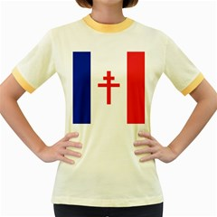 Flag Of Free France (1940 1944) Women s Fitted Ringer T Shirts