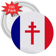 Flag Of Free France (1940 1944) 3  Buttons (100 Pack)
