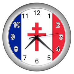 Flag Of Free France (1940 1944) Wall Clocks (silver)