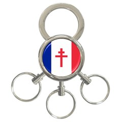 Flag Of Free France (1940 1944) 3 Ring Key Chains