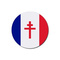 Flag Of Free France (1940 1944) Rubber Round Coaster (4 Pack)