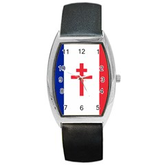 Flag Of Free France (1940 1944) Barrel Style Metal Watch