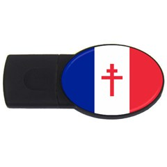 Flag Of Free France (1940 1944) Usb Flash Drive Oval (4 Gb)