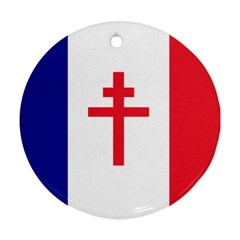 Flag Of Free France (1940 1944) Round Ornament (two Sides)