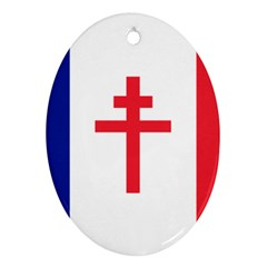 Flag Of Free France (1940 1944) Oval Ornament (two Sides)