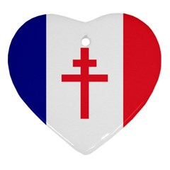 Flag of Free France (1940-1944) Heart Ornament (Two Sides)