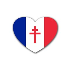Flag Of Free France (1940 1944) Rubber Coaster (heart)