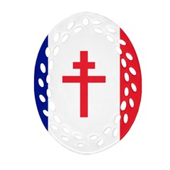 Flag Of Free France (1940 1944) Ornament (oval Filigree)