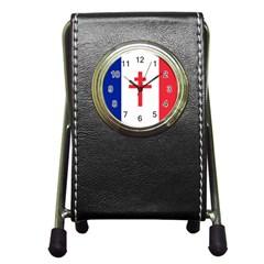 Flag of Free France (1940-1944) Pen Holder Desk Clocks