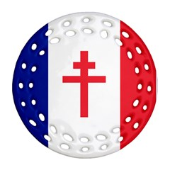 Flag Of Free France (1940 1944) Round Filigree Ornament (two Sides)