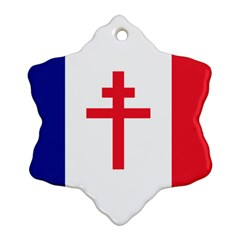 Flag Of Free France (1940 1944) Snowflake Ornament (two Sides)