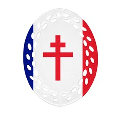Flag Of Free France (1940 1944) Oval Filigree Ornament (two Sides)