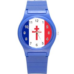 Flag Of Free France (1940 1944) Round Plastic Sport Watch (s)