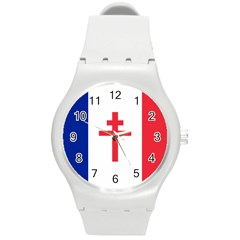 Flag Of Free France (1940 1944) Round Plastic Sport Watch (m)