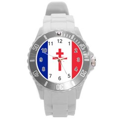 Flag Of Free France (1940 1944) Round Plastic Sport Watch (l)