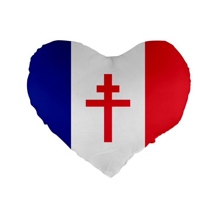 Flag of Free France (1940-1944) Standard 16  Premium Heart Shape Cushions