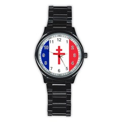 Flag Of Free France (1940 1944) Stainless Steel Round Watch